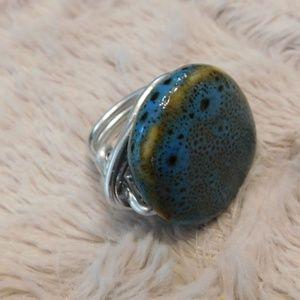 Jewelry - Pottery, Artisan made, boho, silver wrap ring, 7